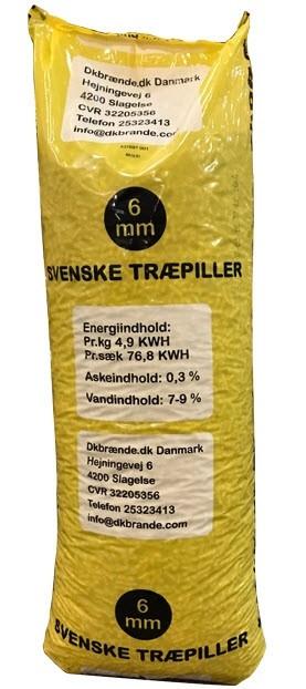 Dkbrænde træpiller svenske 6mm 896 kg afhentet