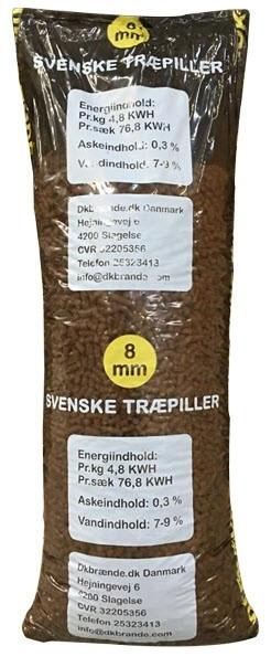 Dkbrænde træpiller 8 mm ½ palle