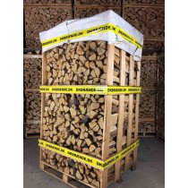 Bæredygtig lufttørret svensk eg, klar til brug. 26-28cm flækket i mindre stykker. 1,9-2,1 m3